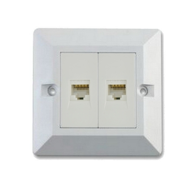Double Module Cat 6 RJ45 LAN Network Wall Box White