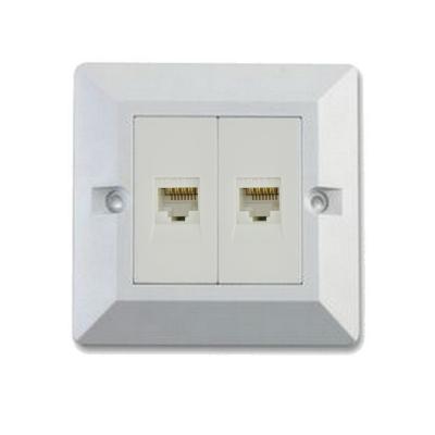 Double Module Cat 6 RJ45 LAN Network Wall Box White