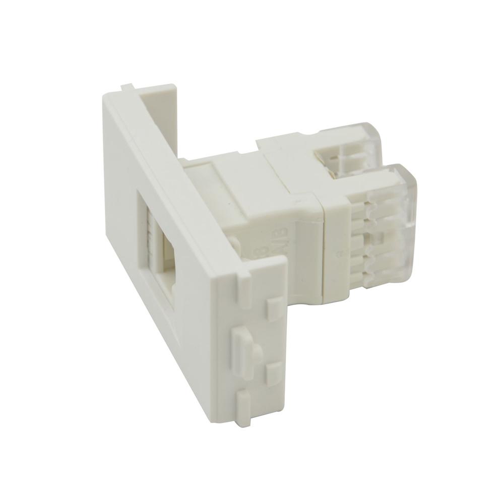 mep bd2984 double module cat 6 rj45 lan network wall box white