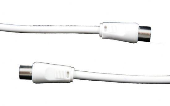 MEP Coax plug/socket, white, 2m