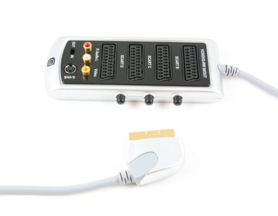 MEP Scart plug/scart sockets - individual switch, RCA with S-VHS sockets 0.6m  RGB - gold