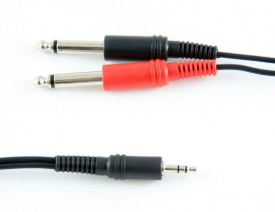 MEP 3.5mm Stereo Jack Plug to 2 x 6.35mm Mono Jack Plugs Lead 3m