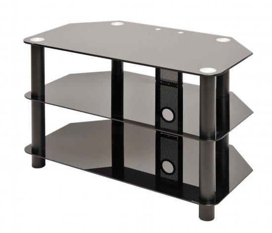 MEP 3 SHELF GLASS TV STAND BLACK