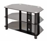 3 SHELF GLASS TV STAND BLACK