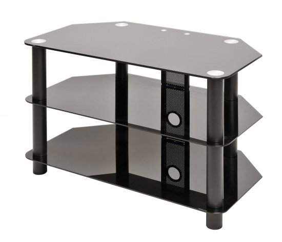MEP 3 SHELF GLASS TV STAND BLACK
